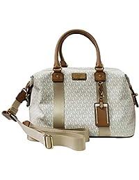 86a17de27d Michael Kors LG Large Travel Bag Weekender Purse MK Vanilla Acorn Brown