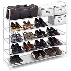 Relaxdays – Zapatero compuesto de estructuras de acero, tela y conectores de plástico con medidas 90.5 x 87 x 29.5 cm 5 pisos hasta 25 pares de zapatos, color blanco