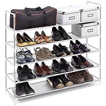 Relaxdays Zapatero compuesto de estructuras de acero, tela y conectores de plástico con medidas 90.5 x 87 x 29.5 cm 5 pisos hasta 25 pares de zapatos, color blanco