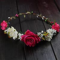 niumanery Women Wedding Flower Hair Garland Crown Headband Floral Rose Handmade Vacation Red