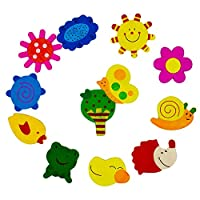AKORD Lovely Baby Toy Animal Coloured Wooden Cartoon Refrigerator Magnets For Children (Set of 12)