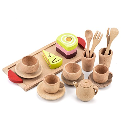 VOKOO Wooden Play Tea Set – 18 Pieces Pretend Role Play Food and Dinner Toy Set