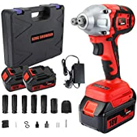 """Impact Wrench with 2 Battery, KINGSHOWDEN 18V CordlessImpactDriver Set, 10,000mAH Lithium Battery, 520N.M 1/2"""" Drive, Dual Speed Automatic Power Tool, 6 Impact Socket and Carry Case"""
