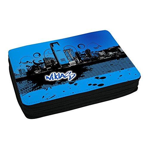 Schul-Mäppchen mit Namen Niklas und Motiv mit Skyline in blau für Jungs - Federmappe mit Vornamen - inkl. Stifte, Lineal, Radierer, Spitzer