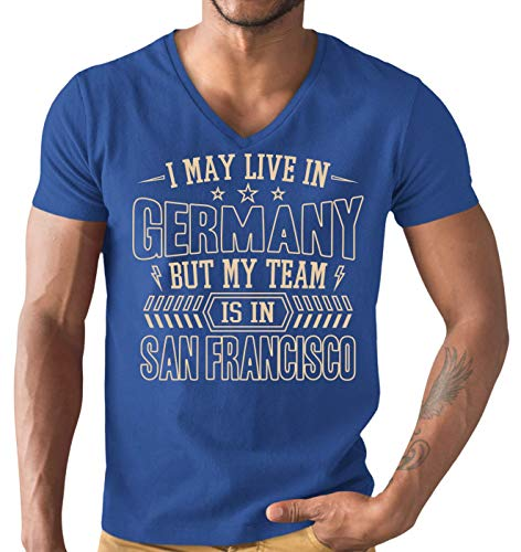 American Football 49er Germany Premium T-Shirt Herren V-Neck Herrenshirt, Größe:XL, Farbe:Royalblau (Royal Blue L151)