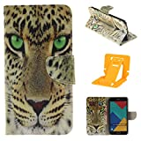 Samsung A5(2016) Leather Phone Case, Ekakashop Magnetized Closure Stand Card Holders Pocket, Retro Leather Wallet Case Purse Protective Cover stand Function Flip Folio Book Case for Samsung Galaxy A5(2016) including a independent Kickstand - Yellow tiger