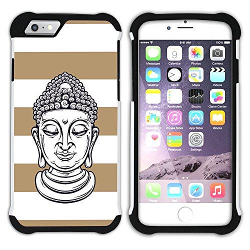 Graphic4You Buddha-Kopf Linien Muster (Wasserblau) Hart + Weiche Kratzfeste Hülle Case Schale Tasche Schutzhülle für Apple iPhone 6 Plus / 6S Plus Hellbraun