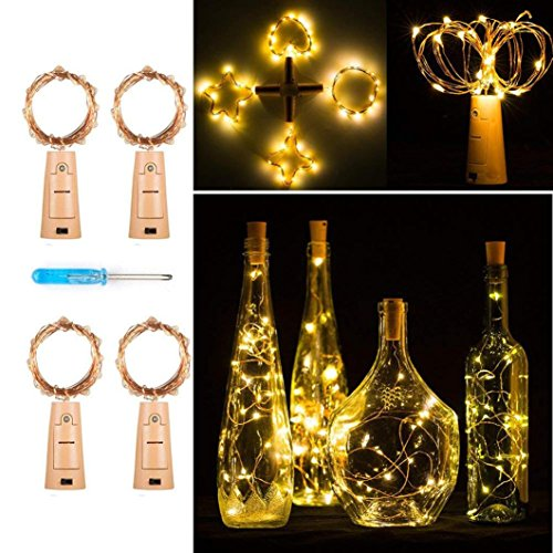 TAOtTAO 4 Stück Weinflaschen String Lichter Fee Decor Micro Kupferdraht Fairy Lights DIY
