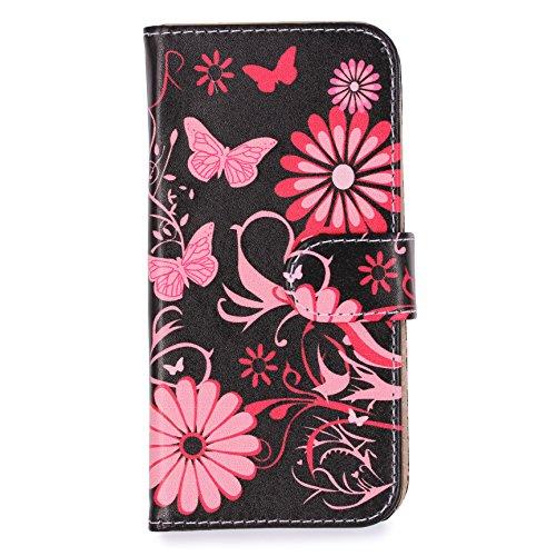 URCOVER Floreal Cover Wallet | Apple iPhone 6 Plus / 6s Plus | Housse Portefeuille Motif Fleurs Dessins en Blanc / Fuchsia | Coque Pochette Élegant Étui Magnetique Stand Cartes Femme Noir / Fuchsia