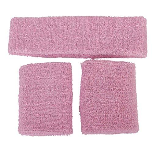 Elastische Schweißband 1x Stirnband gesetzt 2x Armbänder für Sport (Rosa) (Elastisches Rosa Stirnband)