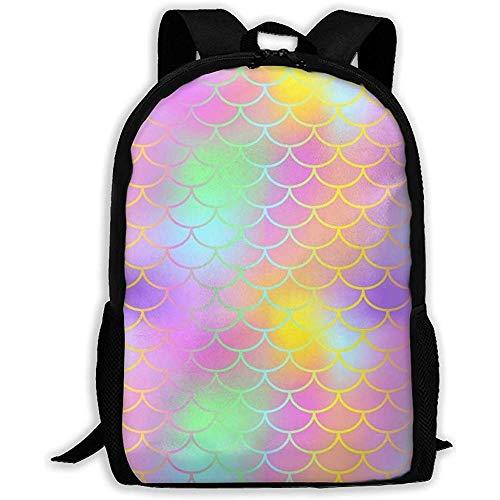 Borsa da viaggio,zaino per studenti,borse da scuola unisex,zaino oxford casual,bookbag unisex con coda di sirena magica colorata a squame di pesce, zaino da lavoro, borsa per laptop