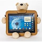 Bluestork - Funda universal protectora con oso de peluche 3 en 1 (soporte, funda, soporte para coche) para tablets de 9.7'' a 10.1''