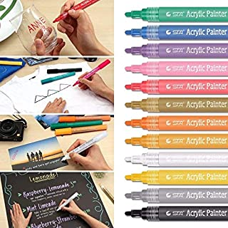 Aibesser Acrylic Paint Marker Pens, Permanent Paint Art Marker Set,12 Colors Acrylic Art Paint Marker Pen for Stone,Glass and Febric Painting, Wood,Plastic, Paper, Photo Album and Other DIY Crafts.