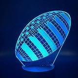 Zcmzcm Lumières 3D Rugby Sports Ball Jeu Chambre Décoration 7 Couleurs Meilleurs Cadeaux De Vacances Enfants Veilleuses