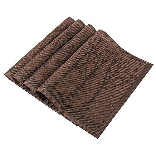 U'artlines tovagliette all'americana in tessuto vinilico intrecciato, antiscivolo, lavabili, set da 4 4pcs coffee tree