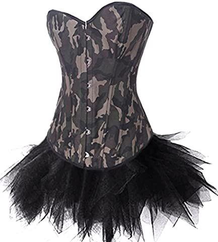 Vintage Camouflage Army Girl Lingerie Lace up Boned Corset and Bustier Tutu Skirt Set