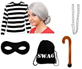 ILOVEFANCYDRESS EINBRECHER+GANOVEN RÄUBER OMA KOSTÜM VERKLEIDUNG=AUFBLASBARER GEHSTOCK+SWAT Bag+Kette+PERÜCKE+Maske+Tshirt=Unisex =Fasching Karneval=100% Baumwolle T-Shirt =XXLarge