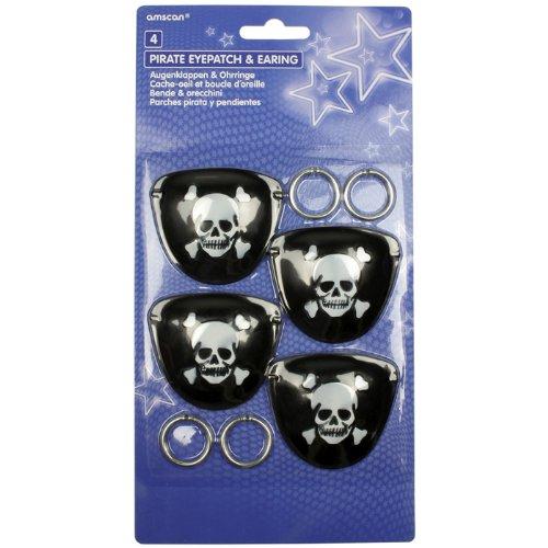 Piraten Augenklappen und Ohrringe Set für 4 (Und Piraten Ohrring Augenklappe)