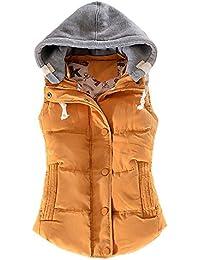 VANKER mujeres con capucha algodón invierno cálido sin mangas chaleco abrigo chaleco chaleco