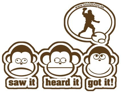 Preisvergleich Produktbild Die drei Affen - SAW IT - HEARD IT - GOT IT! - AMERICAN FOOTBALL TOUCHDOWN Aufkleber Autoaufkleber Sticker Vinylaufkleber Decal
