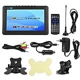 Asixx TV Portable, 9 Pouces 800 * 480 Téléviseur Numérique DVB-T/T2 avec Câble AV, Télécommande, Chargeur de Voiture, etc, Supporte Entrée AV, Carte TF, Port USB et Prise pour Casque