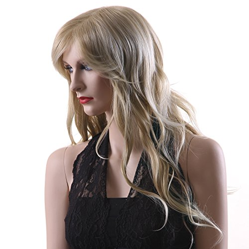 Songmics Neu Perücke Blond stilvoll schick gelockt Lang Haar Wigs für Karneval Cosplay Halloween WFF046