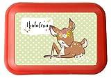 wolga-kreativ Brotdose Lunchbox mit Name REH Rehlein und Wunschname mit Trennsteg viele Motive