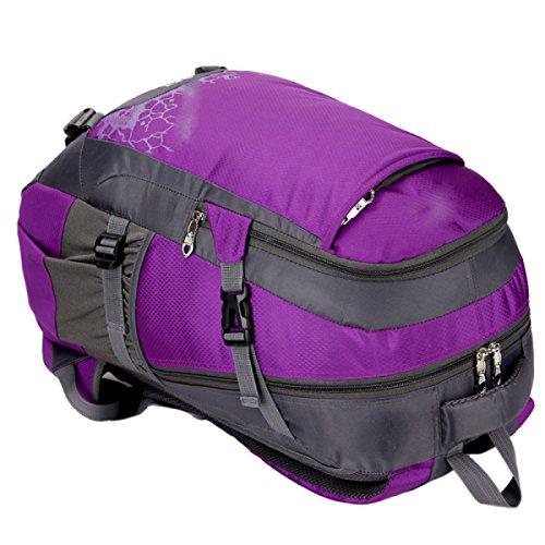 LQABW Multi-Funktions-Outdoor-Schulter-Wasserdichtes Nylon Climbing Polyester Atmungsaktiv Bergsteigen Wandern Rucksack Tasche Purple