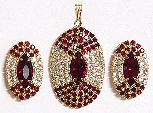 DollsofIndia Maroon And White Stone Studded Round Shaped Pendant And Earrings - Stone And Metal (AS87-mod) - Red