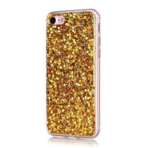 Für iPhone 7 4.7 Zoll Soft Rubber Gel TPU Cover,Herzzer Modische Lovely und Sparkly Sequins Crystal Designer Shockproof Stoßdämpfer Transparent Silikon TPU Case Schutzhülle + 1 x Free Handy Halter Sta Gelb