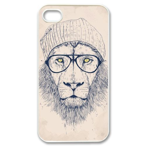 Personalized New Print Case for Iphone 4,4S, Hipster Lion Phone Case - HL-R689230