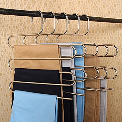 S-TYPE Magic Hose Kleiderbügel Closet Kleiderbügel Edelstahl Space Saver Jeans Schal Krawatte Hosen-Storage Rack 2pcs (Jeans-space Saver Hanger)