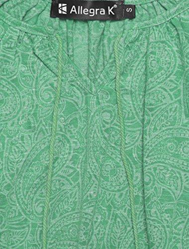 Allegra K Femme Motif Paisley Jacqaurd À Gland Cravates Manches Longues Paysante Top green