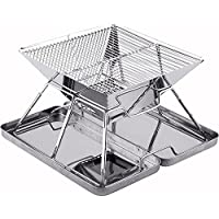 SANNO BBQ Compact Folding Portable Charcoal Barbeque Grill Made from Stainless Steel carry-on BBQ Grill Camping, Picnics, Backpacking, Backyards, Survival, Emergency Preparation