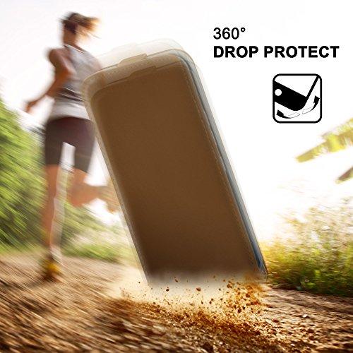 iPhone 4S Hülle Schwarz [OneFlow 360° Klapp-Hülle] Etui thin Handytasche Dünn Handyhülle für iPhone 4/4S Case Flip Cover Schutzhülle Kunst-Leder Tasche UMBER-BROWN