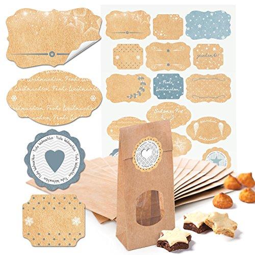 25 kleine braune Kekstüten MIT FENSTER Pralinentüten Gebäcktüten Papiertüten mit Boden (7 x 4 x 20,5 cm) + 34 (2B) beige hell-blau graue Weihnachts-Etiketten Geschenk-Aufkleber 4 bis 6,5 cm