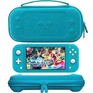ButterFox Premium Slim Case für Nintendo Switch Lite mit 19 Spielen und 2 Micro-SD-Kartenfächern, Aufbewahrungsfach für Switch Lite Zubehör (türkisblau)