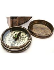 Brass Compass Boussole de poche avec poème de Robert Frost à l'intérieur avec étui en cuir