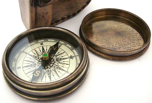 Brass Compass pocket compass, poem by Robert Frost engraved in the lid, with leather case