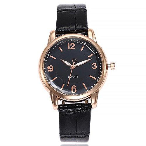 Uhren Dellin V245 Damen Beiläufige Bælte Quarz Edelstahl Band Marmorband Uhr analoge Armbanduhr (Schwarz)