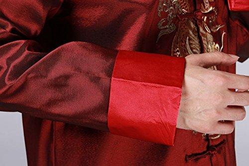 XueXian(TM) Vêtement Chinois Traditionnel Veste de Tang Blouse Chemise Manche Longue Motif Dragon pour Homme Rouge vineux