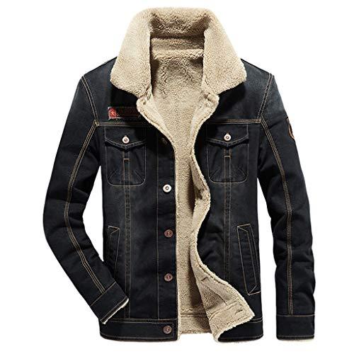 Zolimx Männer Mode Vintage Plus Velvet Thick Denim Jacke, Herren Herbst Winter Casual Retro Lange Ärmel Umlegekragen Jeansjacke Mantel Lange Ärmel Denim Jacke