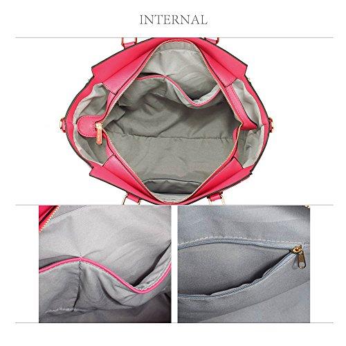 Meine Damen Umhängetaschen Frauen Große Designer Handtaschentoteschulterkunstleder Modische Taschen (A - Schwarz) A - Rosa