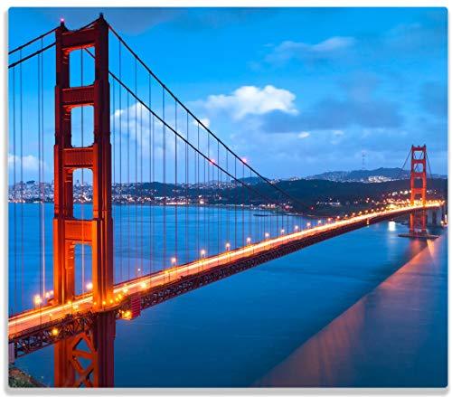 Wallario Herdabdeckplatte/Spritzschutz aus Glas, 1-teilig, 60x52cm, für Ceran- und Induktionsherde, Golden Gate Bridge in San Francisco USA