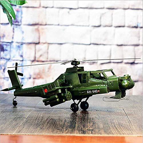 GCCLCF Feineisenmaterial Retro Flugzeug Modell Dekoration Handwerk bar Dekoration hängen schmuck bewaffneten Hubschrauber Dekoration Fotografie Requisiten Hobby Sammlung, etc.