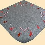 heimtexland Weihnachten in grau rot liebevoll bestickt mit Hirsch Tanne und Sternen - Kissenhülle Tischdecke Tischläufer oder Tischband Typ288