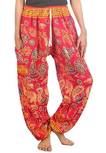 Lofbaz Mujer Elefantes 2 Cordón Harén Boho Pantalones Rosa M 6c00499b390e