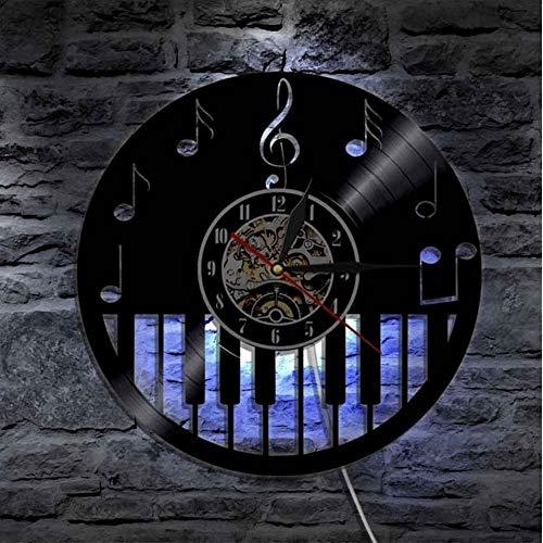 TIANZly Klavier Vinyl Wanduhr Led Beleuchtung Modernes Design Uhr Stumm Kreativen Und Antiken Stil Klassische Cd Rekord Wanduhr Dekoration (Klavier Klassische Musik Halloween Für)