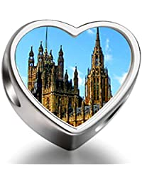 Rarelove Sterling Silver London the British houses of parliament and big ben Heart Photo Charm Beads