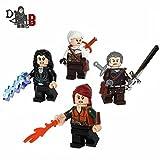 Maßgefertigt DIE HEXER 3, 4 Pack Minifiguren unter Verwendung Lego und Teil inkl. Geralt, Ciri , yennefer und Triss